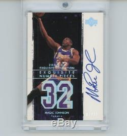 03/04 Magic Johnson Upper Deck Exquisite Number Pieces Auto 7/32 Game Used Patch