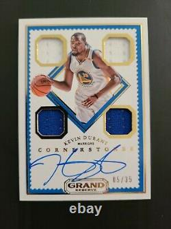 17-18 Cornerstones Kevin Durant Warriors Auto Patch #05/35 Game Used Jersey