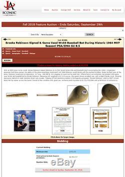1965-68 Brooks Robinson Baltimore Orioles W166 Signed Game Used Bat Psa Holo