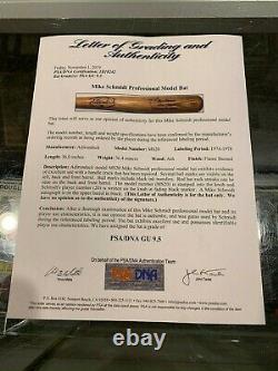 1974-78 Mike Schmidt Philadelphia Phillies Game Used Rookie Era Bat Psa 9.5 Sign