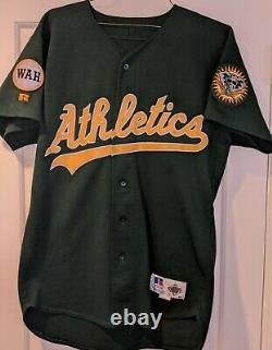 1995 Doug Johns game used/worn Oakland Athletics green signed jersey- WAH Patch