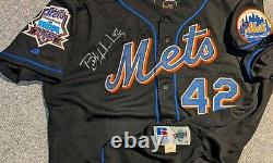 1998 Butch Huskey New York Mets game used #42 jersey MDA patch autographed