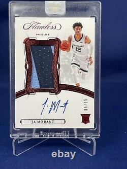 19-20 Flawless Basketball Ja Morant True Rpa Rookie Patch Auto 5/15 Game Worn