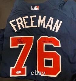 1st Rookie Freddie Freeman Game Used Jersey Atlanta Braves COA PSA Signed MVP