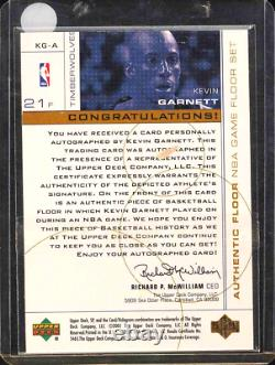 2000 1999 SP Game Used FLOOR Patch AUTO Kevin Garnett #d 7/21 Flawless Exquisite