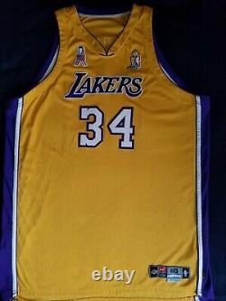 2001-02 Shaquille O'neal Nba Finals Game Worn/used & Signed Lakers Jersey (loa)