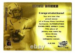 2001 Drew Brees Press Pass Auto RPA RC /25 Patch Game Used Signed Rookie GU SSP