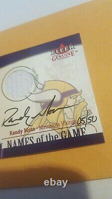 2001 Fleer Genuine Names of the Game Randy Moss Jersey Swatch Auto 5/50 signed
