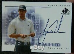 2002 SP Game Used Scorecard Golf Tiger Woods Signed AUTO SSP Card
