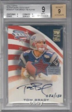 2002 Topps Super Bowl Autograph Relic Tom Brady /150 MINT 9 Patriots Game Used