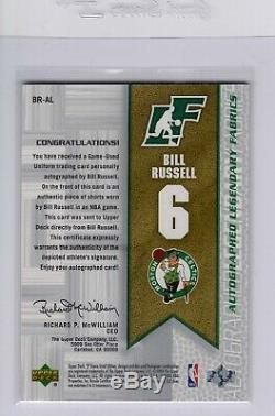 2003-04 Bill Russell Ud Sp Game Used Legendary Autographed Auto Jersey 25/100