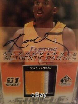 2003-04 Sp Game Used Autographed Authentic Patches Kobe Bryant Auto Patch Lakers