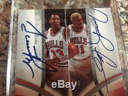 2004-05 SP Game Used Scottie Pippen Dennis Rodman Autographed Fabrics Dual /50