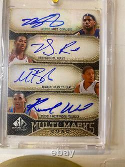 2009 SP Game Used Multi Marks Quad LeBron James Rose Westbrook AUTO 14/25