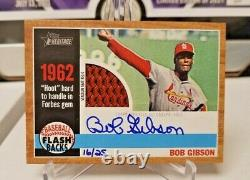 2011 Topps Heritage Bob Gibson Flashback GAME USED Auto Relic Cardinals 16/25