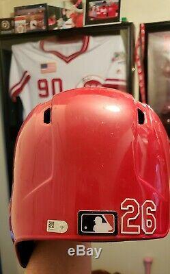 2015 Cincinnati Reds Raisel Iglesias signed GAME USED WORN Helmet 1st career RBI