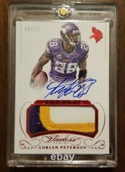 2015 Panini Flawless Adrian Peterson on card auto, game used, 3 color patch 8/15