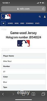 2018 Mike Trout Game Used BP ASG Jersey Inscribed Signed STUD 5 TOOL PLAYER 1/1