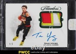 2018 Panini Flawless Emerald Trae Young ROOKIE RC GAME USED PATCH AUTO /5