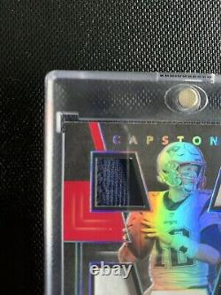 2019 Majestic Capstones TOM BRADY Game Used 4 Patch On Card Auto #d 1/3