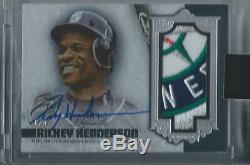 2019 Topps Dynasty Rickey Henderson Game Used Logo Patch Auto Silver 1/5 Mariner
