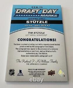 2020-21 UD SP Game Used Draft Day Marks Auto Tim Stutzle Ottawa Senators 19/35