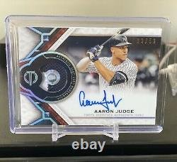 2021 Topps Tribute Aaron Judge Game Used 2 Color Patch On Card Auto /50