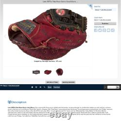80s PETE ROSE SIGNED GAME ISSUED RARE WORLD WIN MIZUNO PRO-MODEL GLOVE LIGHT USE