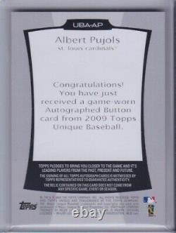 ALBERT PUJOLS 2009 Topps Unique Game Used Jersey Button Auto Signed Cardinals /6