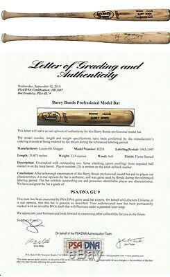 Barry Bonds Signed Game Used Bat 1993-1997 PSA GU 9 Giants