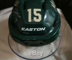 Dany Heatley game used signed Minnesota Wild green helmet NHL worn MN RARE
