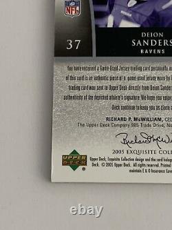 Deion Sanders 2005 UD Exquisite Game Used Super Jersey Autograph /15 Ravens