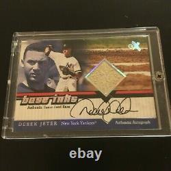 Derek Jeter 2001 Fleer E-X Autograph Signed On Card Game Used Base'Base Inks