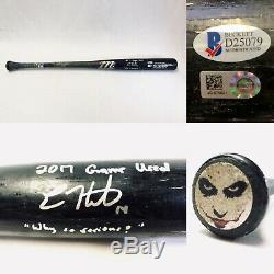 ENRIQUE KIKE HERNANDEZ 2017 Game Used Signed JOKER Bat Why So Serious MLB COA