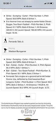 Fernando Tatis Jr. Game Used Baseball First Career MLB Hit MLB Auth Signed