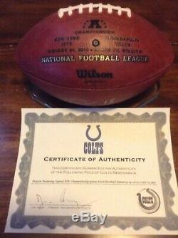 Indianapolis Colts COA Signed Peyton Manning AFC Championship Game Used Football