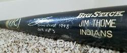 JIM THOME 1998 Game Used Autographed Inscribed MLB INDIANS Twins Bat PSA GU 9.5