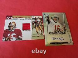JOE MONTANA SILVER PRIZM AUTOGRAPH AUTO CARD #d4/50& GAME USED JERSEY CARD 49ers