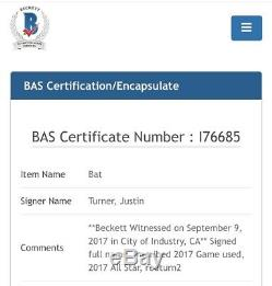 JUSTIN TURNER 2017 Game Used Signed Bat with 3x Inscriptions MLB Beckett COA 1/1