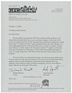 John Elway Game Used Jersey Auto Signed Super Bowl Year 4 COAs PSA Grey Flan