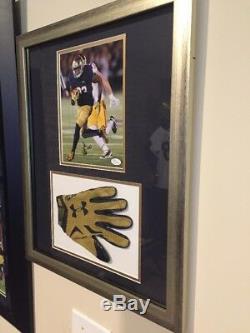 Josh Adams Signed Game Used Notre Dame Football Glove Photo Framed Matte JSA