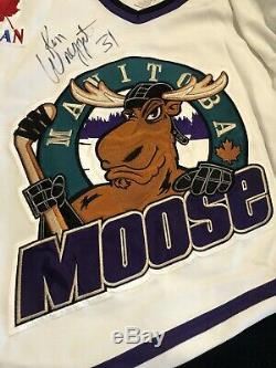Ken Wregget Signed 2001 Game Used Manitoba Moose Jersey RARE Stanley Cup Champ