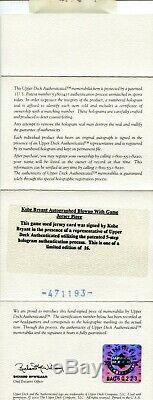 Kobe Bryant 2009-10 Auto Signed Game Used Worn Jumbo Jersey Patch UDA #d 11/16