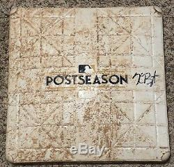 Kris Bryant Signed 2017 NLDS Postseason Game Used Base Chicago Cubs