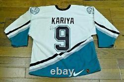 Late 1990's Paul Kariya HOF Signed Game Used Anaheim Ducks Hockey Jersey