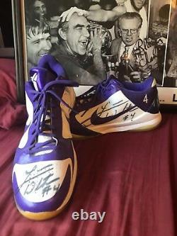 Luke Walton autographed game used Kobes. Purple/White. Embroidered #4 + Walton
