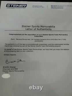 Mariano Rivera 2012 Postseason Signed Game Used Worn Hat Yankees Cap Steiner