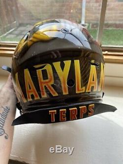 Maryland Terps Terrapins Game Used Worn Football Helmet Signed Ncaa Cavon Walker