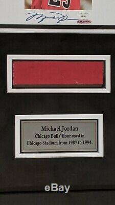 Michael Jordan Signed 8x10 Photo UDA JSA Framed With Game Used Floor