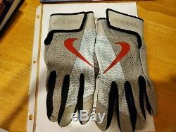 Mike Trout Game Used Worn Dual Signed Batting Gloves 2019 Auto Pair Anderson COA